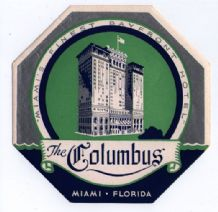 Collectable Hotel luggage label I art deco Florida The columbus